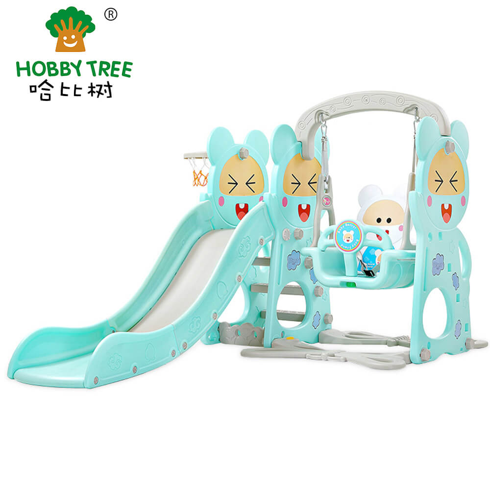 New squirrel theme cheap and good looking indoor slide and swing for children WM19013