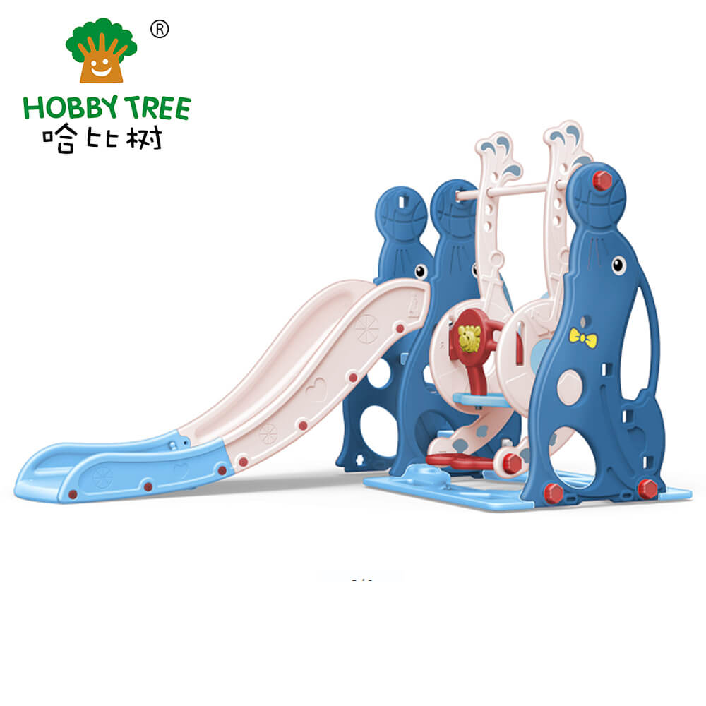 New Sea lion kids indoor plastic slide and swing set for toddler WM19020