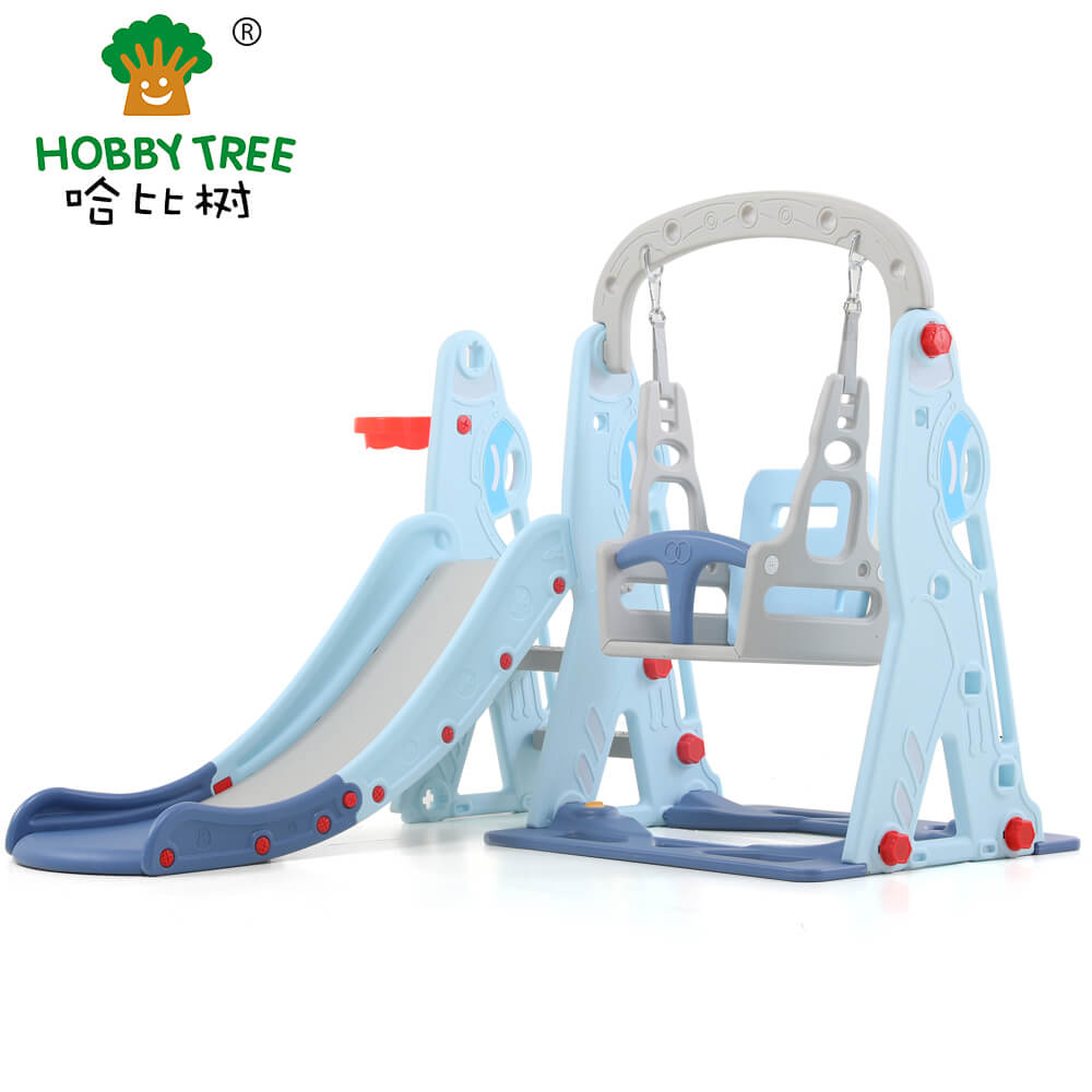 Aircraft theme indoor plastic kids slide and swing set WM19074