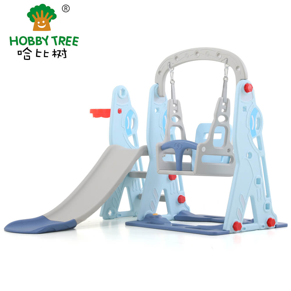 Aircraft theme indoor plastic kids slide and swing set  WM19075